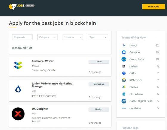 코인텔레그래프, 블록체인과 암호화폐 업계를 위한 구인/구직 리스트 플랫폼 선보여