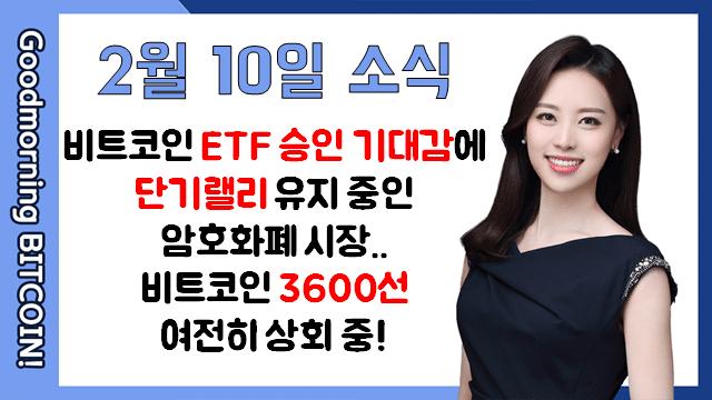[굿모닝 비트코인] 0210 비트코인 ETF 승인 기대감에 단기랠리 유지 중인 암호화폐 시장..비트코인 3600선 여전히 상회 중!