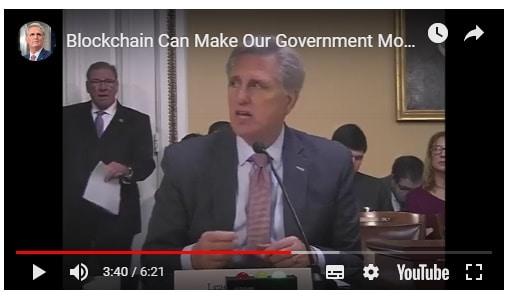 미 하원 공화당 원내 대표, 정부 효율성과 투명성 제고 위한 블록체인 활용 촉구
