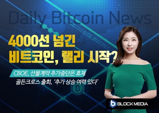 [굿모닝 비트코인] 0317 비트코인 4000선 넘겼다, 상승 랠리 시작?
