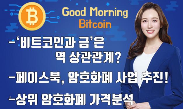 [굿모닝 비트코인] 0504 '비트코인과 금'의 역 상관관계흐름.. 페이스북, 암호화폐 사업 추진 나서