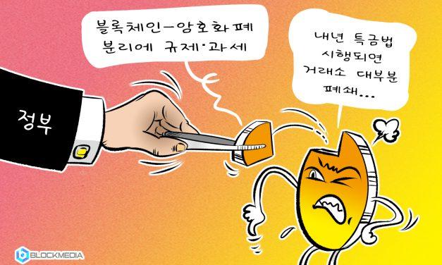 [블록만평] 철저한 블록체인-암호화폐 분리에 규제·과세까지… 업계 '한숨'