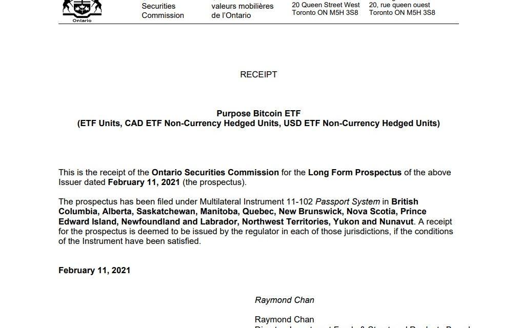 캐나다 당국(OSC), 비트코인 ETF 승인