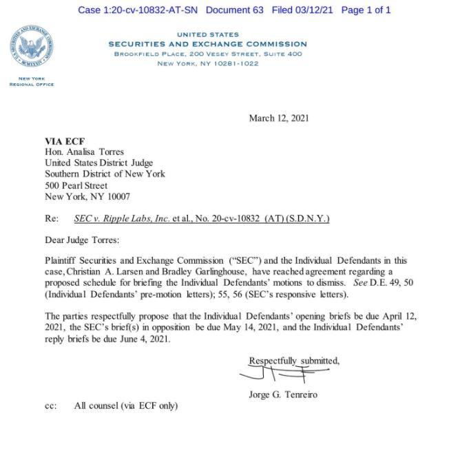 SEC-Ripple, 개별 피고 해고 요청 브리핑 일정 동의