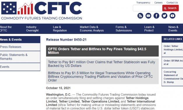 """CFTC, 테더와 비트파이넥스에 4250만달러 벌금 … """"허위 또는 호도하는 주장"""""""
