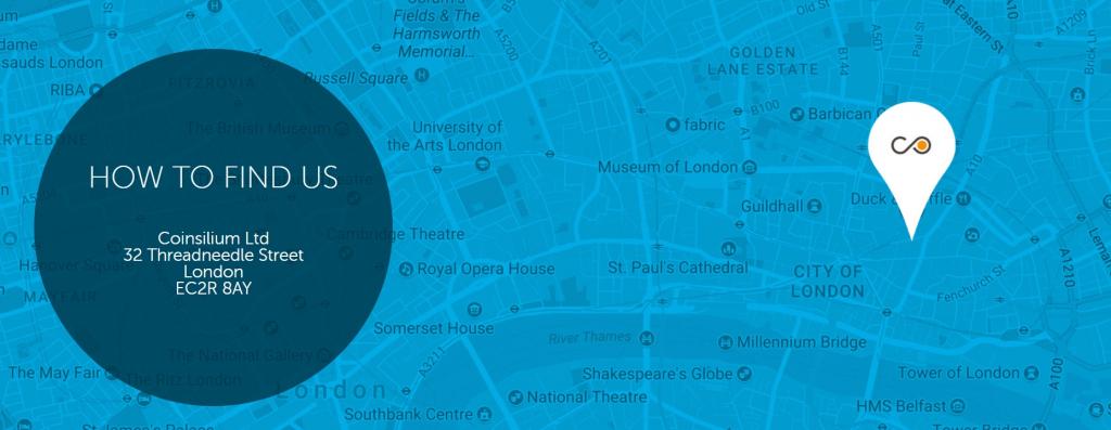 코인실리움 런던 본사 위치, (C) 코인실리움